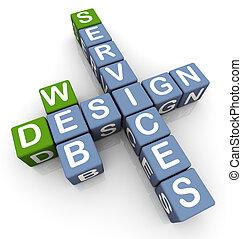 kruiswoordraadsel, van, web ontwerp, diensten