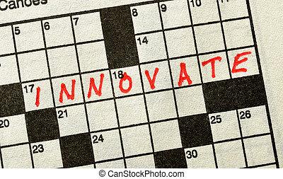 kruiswoordraadsel, woord, innoveren