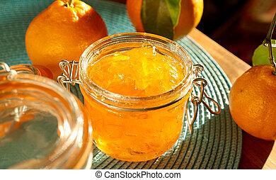 kruka, av, hemlagat, apelsin, marmelad, med, vid, aspekt,...