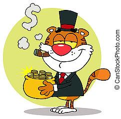 kruka, bärande, guld, tiger, rik