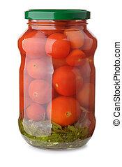 krukke, i, pickled, tomater