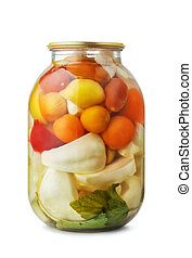 krukke, i, sorteret, pickled grønsager