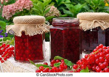 krukor av, hemlagat, rött vinbär, marmelad, med, färska...