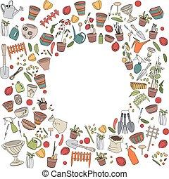 krukor, trädgårdsarbete, grönsaken, redskapen, blomma, ram, ...