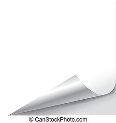 krul, papier, blad, pagina, leeg