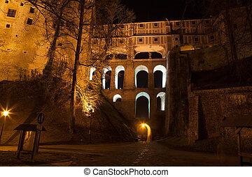 krumlov, cesky, nuit, château, aile, vue