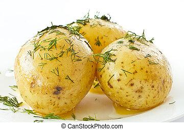 krumpli, főtt, fiatal