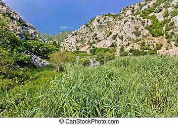 Krupa river canyon green nature and waterfall, Dalmatia,...