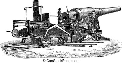 Krupp cannon (72 tonnes) vintage engraving - Old engraved...
