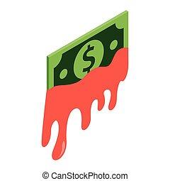krwawy, isometric, ikona, dolar, 3d