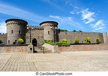 Kryal castle, complex of gothic towers, turrets, parapets and battlements