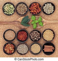 krydderi, og, urt, sampler