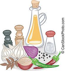 krydderier, condiments
