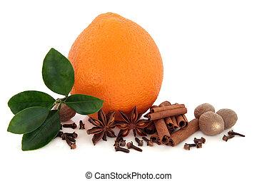 kryddor, och, apelsin, frukt