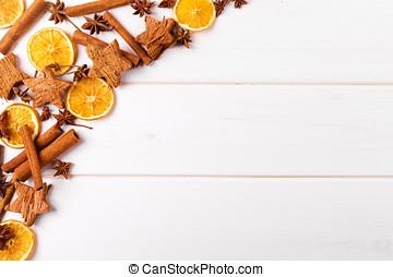 Kryddor, Utrymme, Trä, bakgrund, bord, vit, avskrift, jul