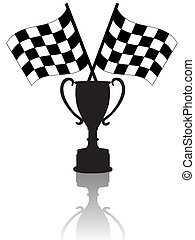 kryds, checkered, flag, sejr