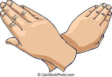 kryds, oppe, hænder