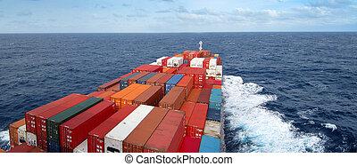 krydsning, beholder skib, havet