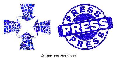 krympa, grunge, stämpel, pilar, blå, press, mosaik