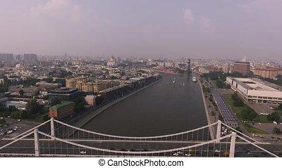 Krymsky bridge aerial view car traffic - Krymsky Bridge or...