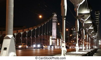 Krymsky Bridge or Crimean Bridge and traffic of cars...