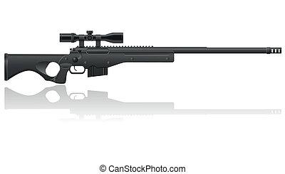 krypskytt, vektor, illustration, gevär