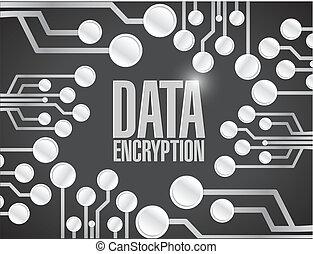kryptering, strömkrets, data, bord, illustration