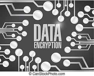 kryptering, strømkreds, data, planke, illustration