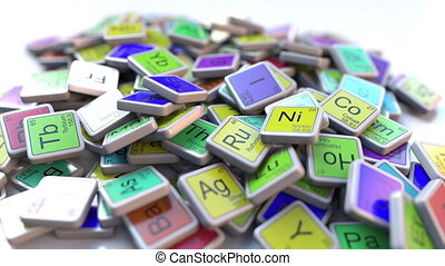 Krypton Kr block on the pile of periodic table of the chemical elements blocks. Chemistry related intro animation