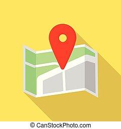 kryssa väg, stift, karta, ikon, lägenhet, stil