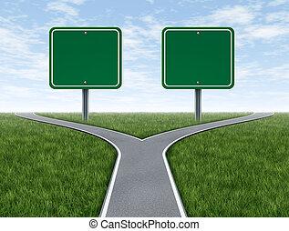 kryssa vägar, med, tom, undertecknar