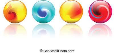 krystal, vektor, farverig, spheres