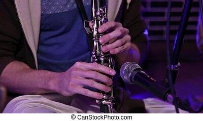 kryszna, zając, instrument, close-up., klarnet,...