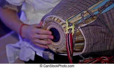 kryszna, zając, mridanga, tradycyjny, instrument, indianin,...
