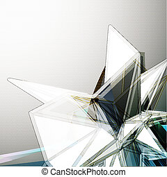 kryształ, abstrakcyjny, wektor, tło, 3d