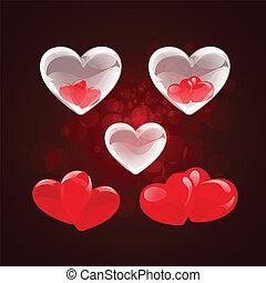 kryształ, czerwone serce