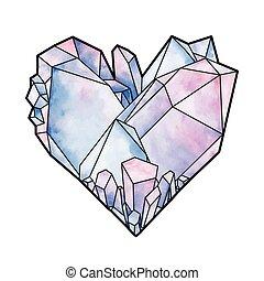 kryształ, graficzny, serce