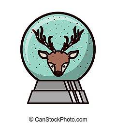 kryształ, wnętrze, piłka, renifer, twarz