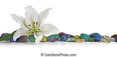 kryształy, biała lilia, gojenie