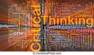 krytyczny, myślenie, tło, pojęcie, jarzący się