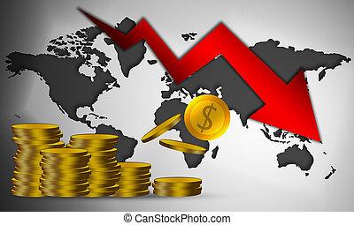 kryzys, ekonomiczny, strzała, upadek, znak, na dół