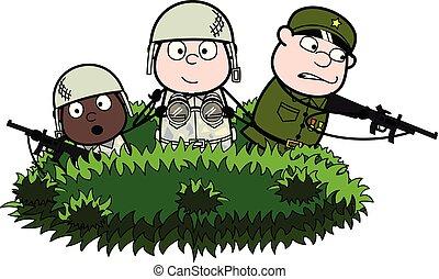 krzaki, sprytny, armia, -, oficerowie, ilustracja, żołnierz...