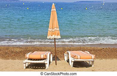 krzesła, błękitny, plaża