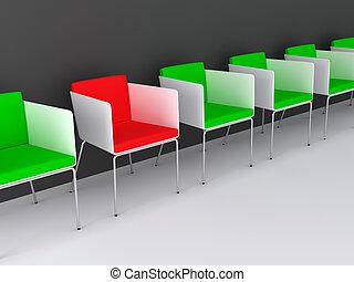 krzesła, concept., handlowy, 3d.