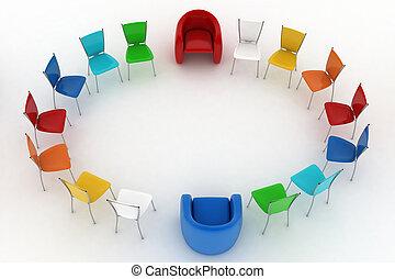 krzesła, fotele, szef, dwa