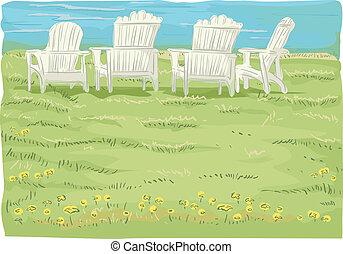 krzesła, grassfield, plaża