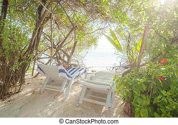 krzesła, malediwy, plaża