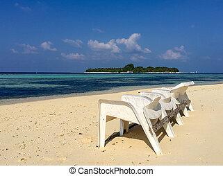 krzesła, piękny, plaża