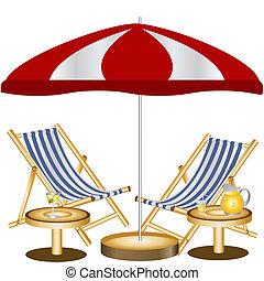 krzesła, plaża, dwa