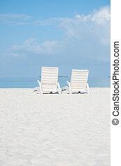 krzesła, plaża, malediwy